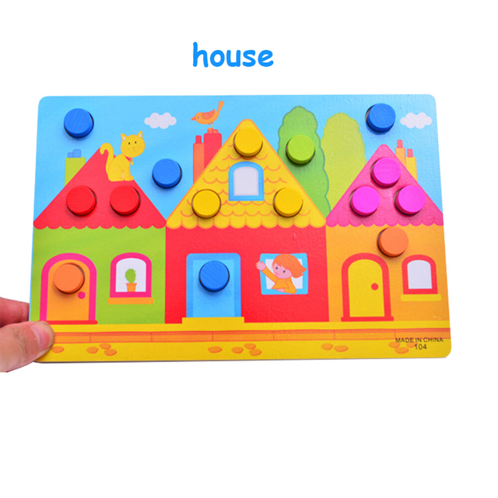 Toys Kids Gifts Match Game Color Cognition Board Jigsaw Tangram Wooden Puzzles