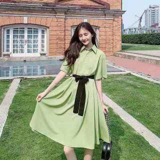 Goopepal Đầm Nữ Phong Cách Hàn Quốc Cỡ Lớn Áo Sơ Mi Rộng Thường Ngày Thời Trang Đầm Sơ Mi Thắt Lưng Cổ Áo Đầm Công Sở Ôm Sát thumbnail