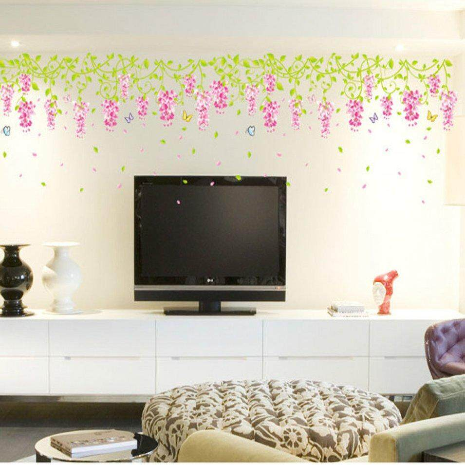 Hot Sales Wisteria Blossom Living Room Removable Waterproof Anti-Stain Wall Sticker