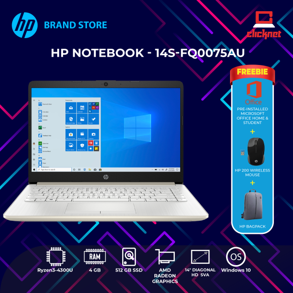 HP Laptop 14s-FQ0075AU ( Ryzen3-4300U,14 HD LED, 4GB RAM, 512GB SSD, AMD Radeon, W10, H&S, Gold) Malaysia