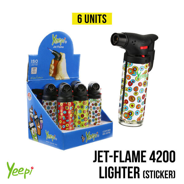 Yeepi Jet Flame 4200A Random Blowtorch Windproof Refillable Incense Charcoal Butane Gas Lighter (6 units)