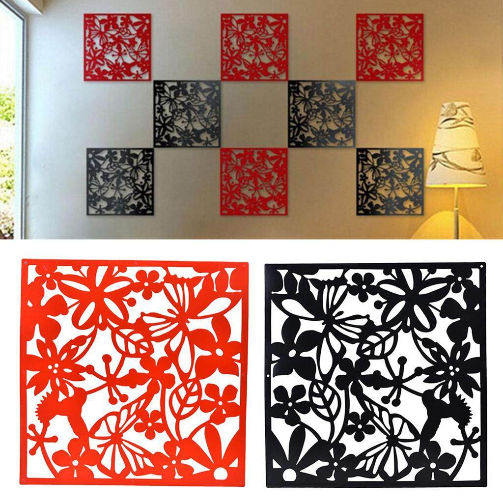 Perfk 8pcs Butterfly Bird Flower Hanging Screen Room Divider Panel Home Wall