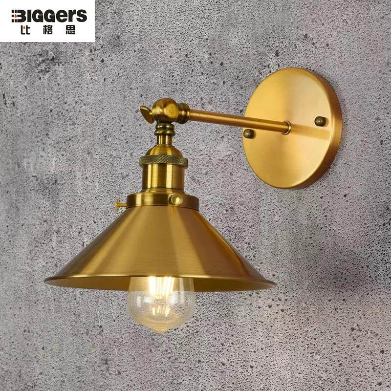 Biggers Luxury Europe style Copper color bedroom living room wall lamp with E27 bulb Vintage fashion coffee bar lights