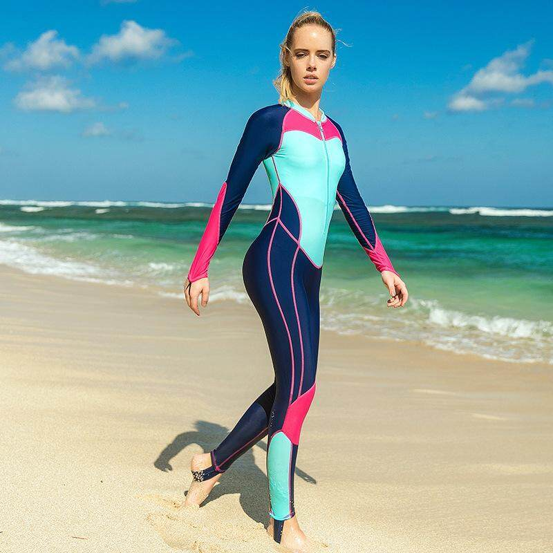 50493f89cd3 SBART Women Swimwear Rash Guard Zipper One Piece Diving Suit Long Sleeve Windsurf  Swimming Bodysuit 1207