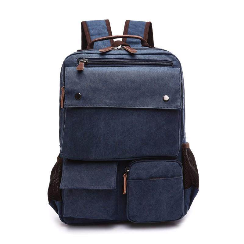 Men Canvas Big Capacity Travel Zipper Multifunctional Shoulders Bag Backpack By Qiaosha.