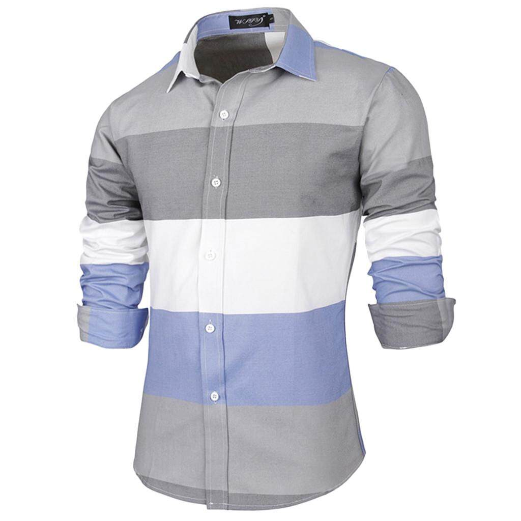 32eda133f147e Rainny Men's Fashion Business Stripe Button Casual Lapel Long-Sleeve Shirt  for men