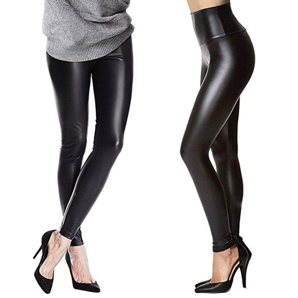 acea4e157dc314 Qusaystore Women Stretchy Sexy Leather Leggings Pants Skinny Black High  Waist Tights