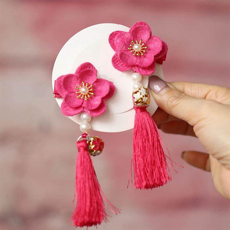 Kids Hair Clip Chinese Style Baby Girls Flower Tassels Hairpin Pearl Accessories