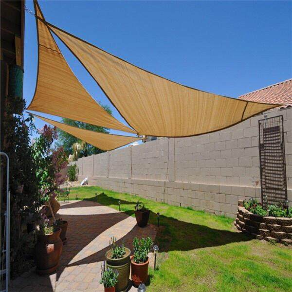 4 Sizes Triangle Sun Shade Sail Canopy Cover Awning Cover Outdoor Garden Patio # 200x200x200cm - Yel