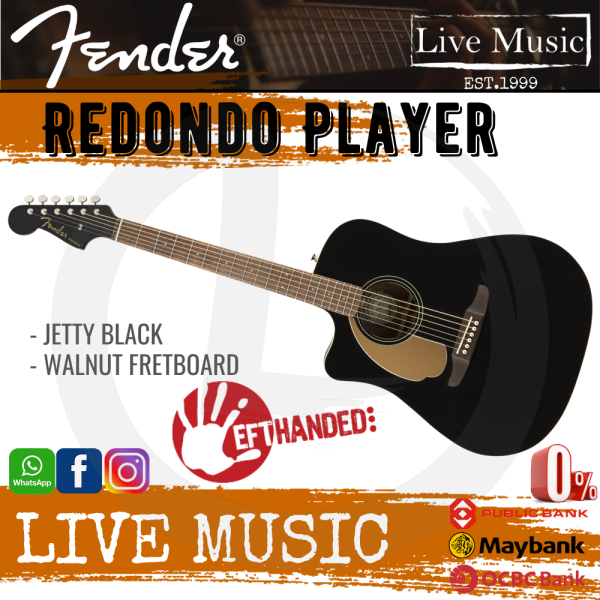 Fender California Redondo Player Left-Handed Slope-Shouldered Acoustic Guitar - Jetty Black Malaysia