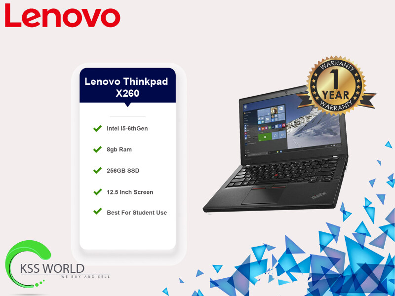 Lenovo Thinkpad X260 i5-6th Gen 8Gb Ram 256GB SSD 12.5 Inch Screen Hdmi Port And Camera Available. Malaysia