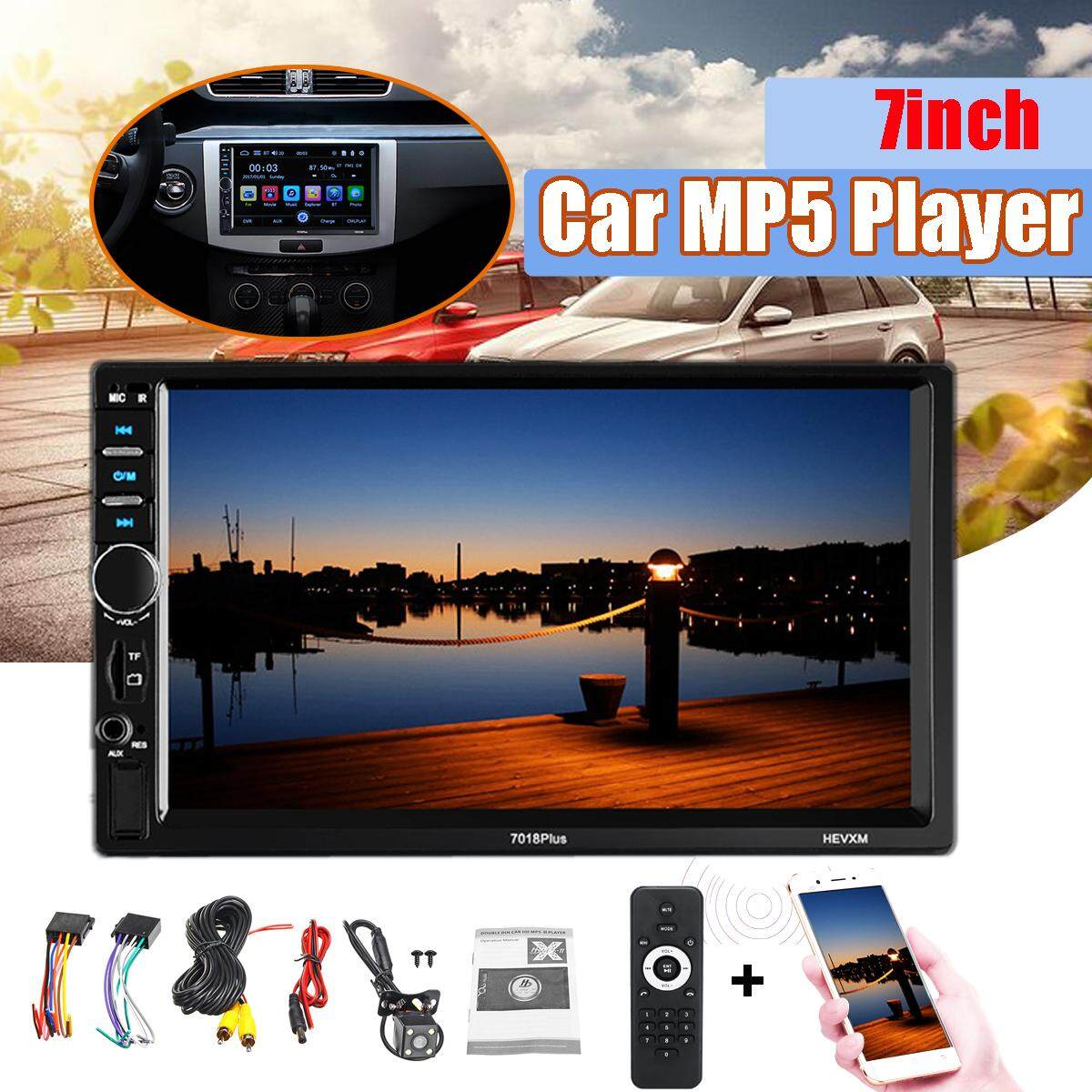 7018Plus 7'' Double 2DIN Touch Car Stereo Radio MP5 MP3 Player Head Unit Bluetooth USB/FM