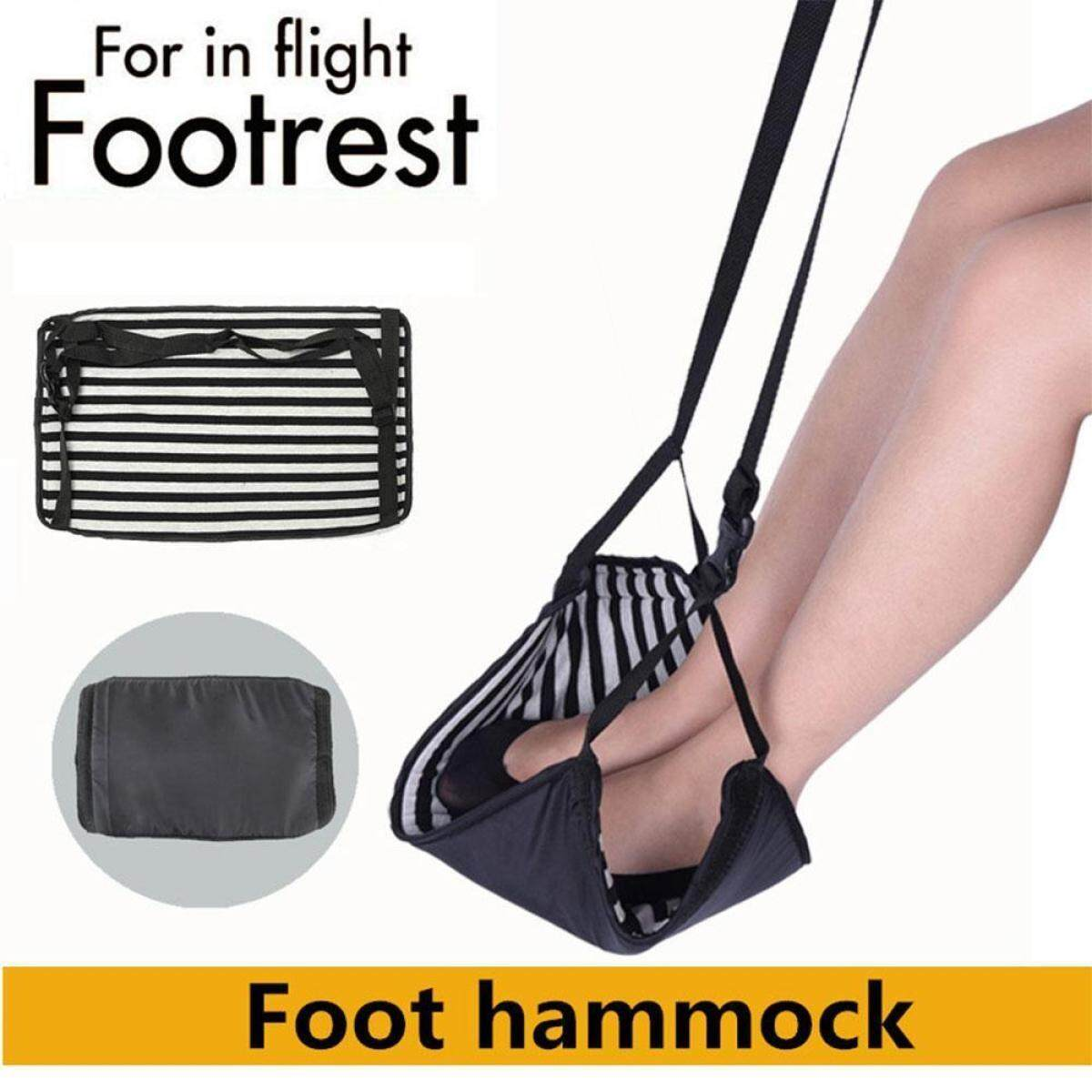 Airplane Footrest, Leg Hammock, Portable Travel Carry-On Flight Foot Rest, Prevent Swelling and Sorenes, Adjustable Feet Relax Hammock with Storage Bag for Home Office Car Plane