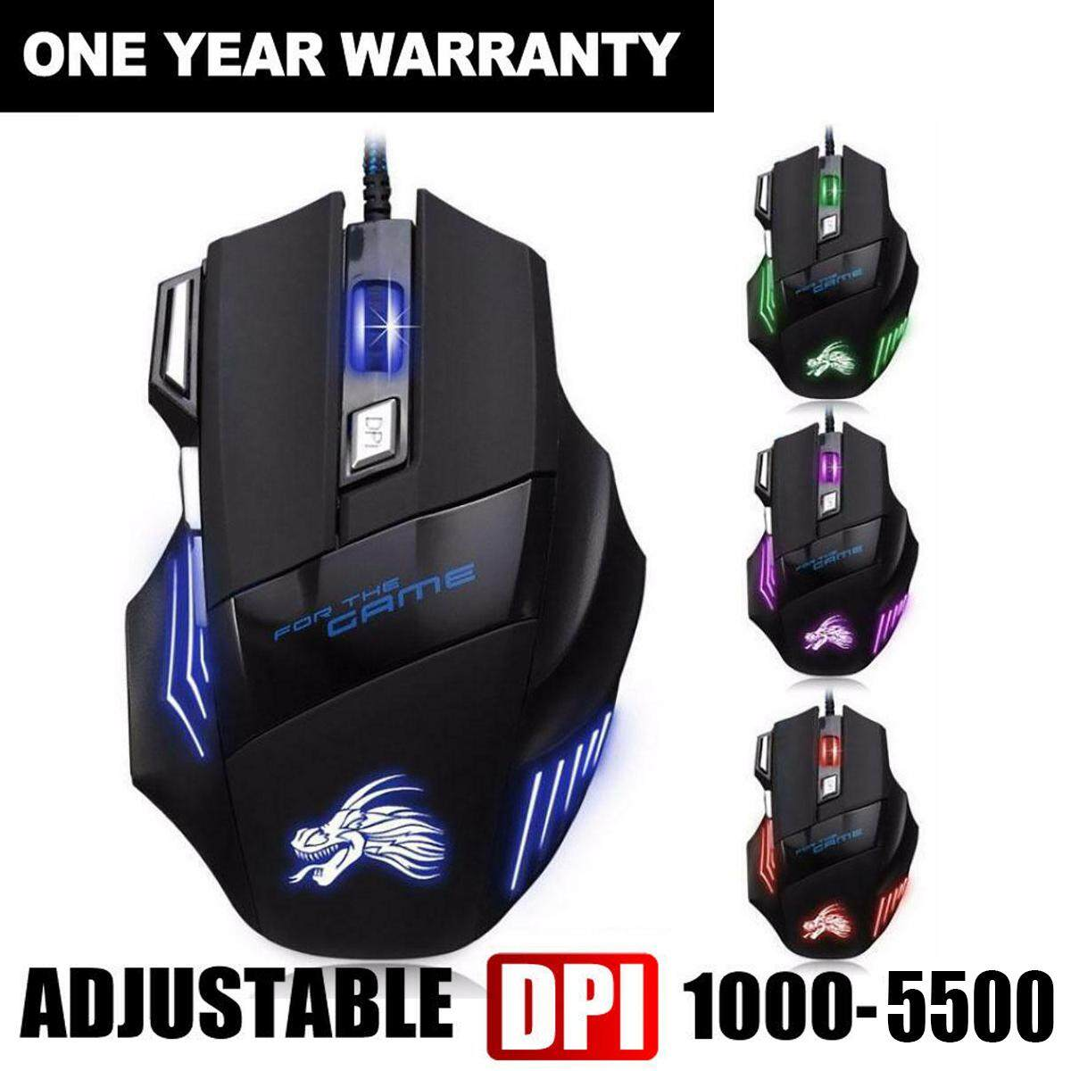 5500 DPI 7 Button LED Optical USB Wired Gaming Mouse Mice For Pro Gamer