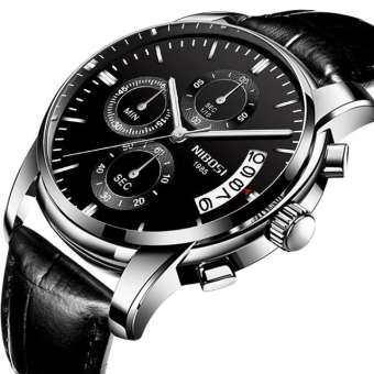 NIBOSI TOP ยี่ห้อนาฬิกาสำหรับผู้ชายหนังนาฬิกาควอตซ์ผู้ชายปฏิทินกันน้ำแฟชั่นนาฬิกาสปอร์ตแบบทหาร-