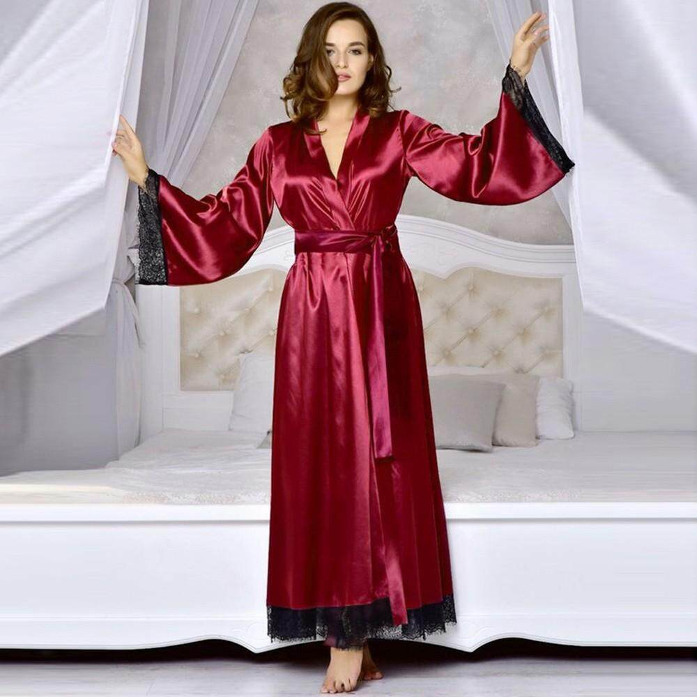 (Audestore) Women Sexy Long Silk Kimono Dressing Gown Bath Robe Babydoll  Lingerie Nightdress Free b0f796a3a