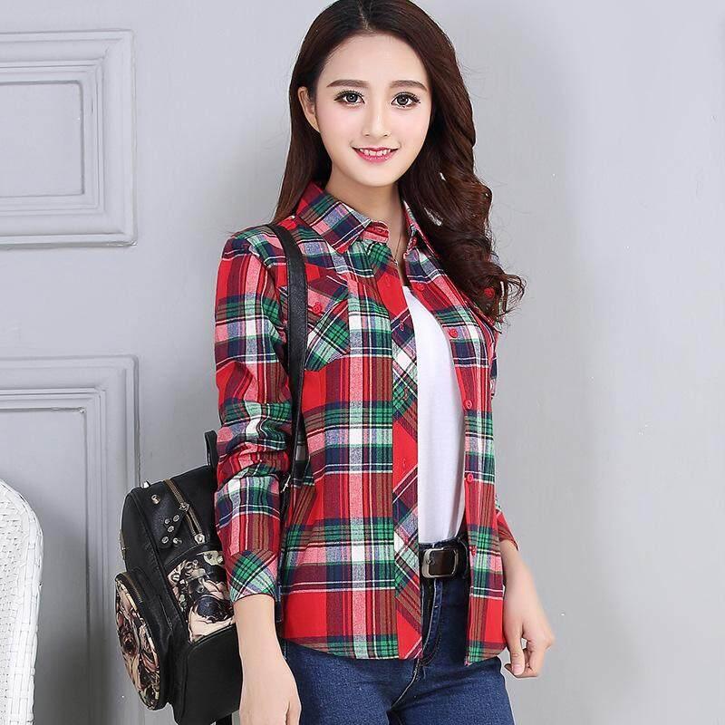 1666490b840 Ouyifan 2019 Spring New Fashion Casual Lapel Plus Size Blouses Women Plaid  Shirt Checks Flannel Shirts