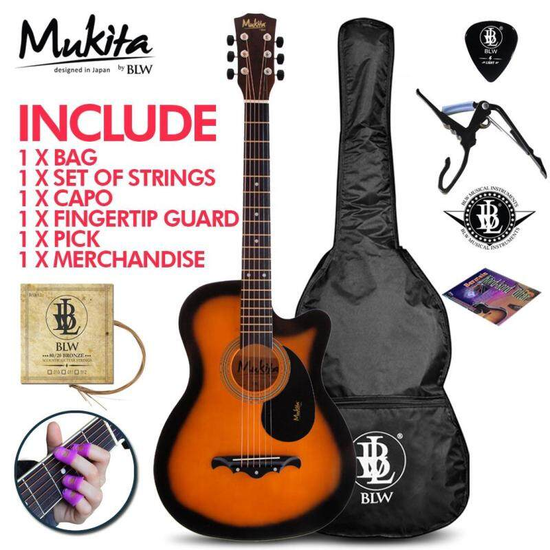 Mukita by BLW Standard Acoustic Folk Cutaway Basic Guitar Package 38 Inch for beginners with Bag, String Set, Fingertip Guard, Capo, Chord book, Pick and Merchandise Sticker (Sunburst) Malaysia