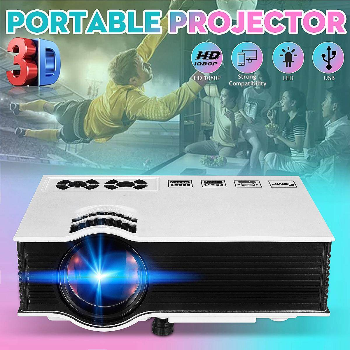 3D 1080P LED LCD Projector Home Theater Remote Control HiFi Speakers AV/VGA/USB