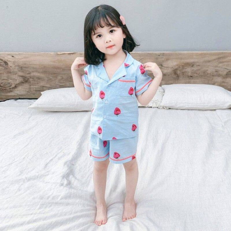 Nơi bán Mùa Hè 2020 Quần Áo Trẻ Em Trẻ Em Dâu Tây Bộ Đồ Ngủ Ngắn Tay Cho Bé Gái Zhong Xiao Tong