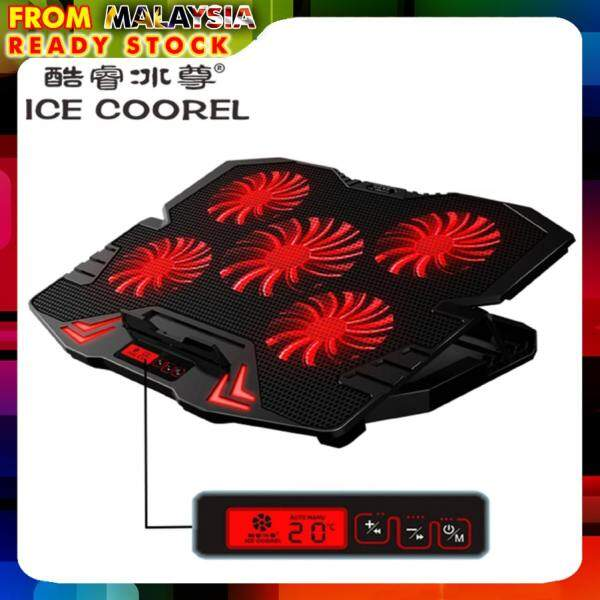 Ice Coorel K5 Super Mute 5 Fans Ice Cooling Technology Red Lighting Cooler Pad With Rack Stand And Built-In Lcd Display 5 Speed Control Of Fans For Laptop (Nb48)-Black Malaysia