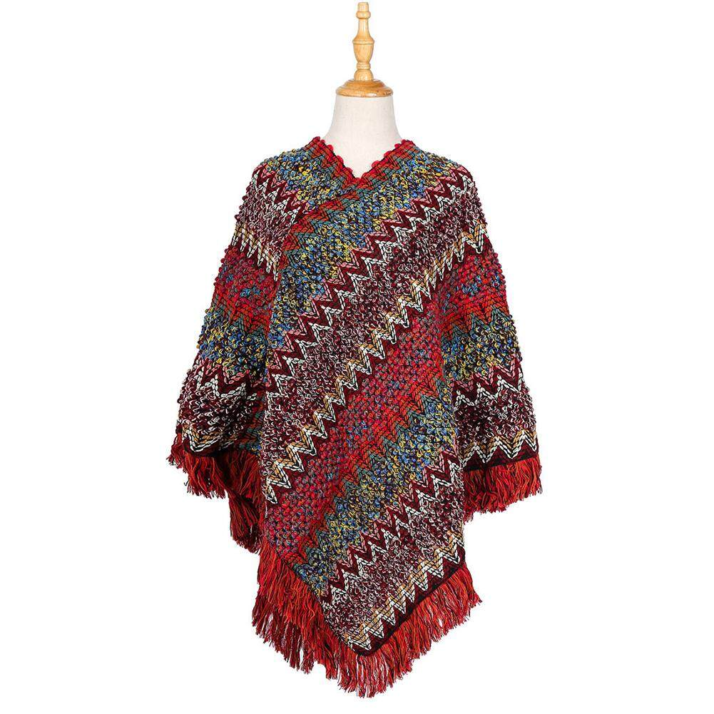 Autumn Fashion Tassel Casual Attractive Stylish Winter Warm Artificial Wool Shopping Herringbone Thickened Woman Cape Daily