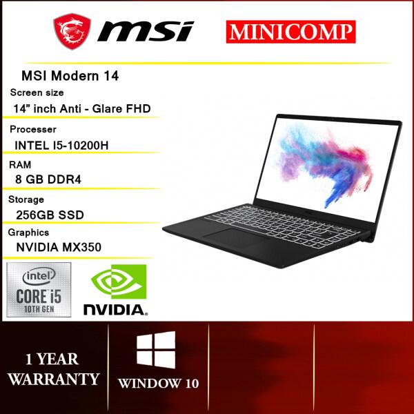 NEW MSI MODERN 14 B10RBSW 407 INTEL I5 10210U (4CORE,8T,MAX 4.2,6M)/8GB/256GBSSD/MX350 2G D5/AC9560+BT5.0/14 FHD IPS/1Y WARRANTY/1.3KG/WHITE BACKLED KEYBOARD/CARBON GYAR NOTEBOOK LAPTOP + SLEEVE+ WIRELESS MOUSE Malaysia
