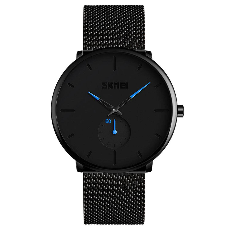 Skmei Fashion MenS Watch Quartz Watch 30 Meters Waterproof Large Dial Quartz Watch MenS Watch 9185, Black Malaysia