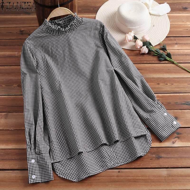 7f07b97d194 ZANZEA Plus Size Women Casual Plaid Check Shirt Tops Oversize Irregular Hem Blouse  Plus