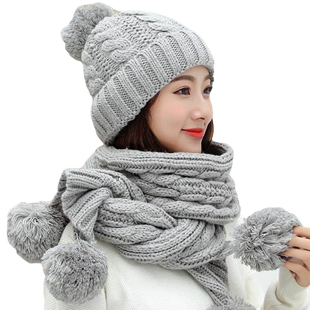 ee4cb3e501c59 Women's Hats & Caps. 348 items found in Hats & Caps. Sanwood® Winter Women  Solid Color Pompom Warm Thick Knitted Hat Beanie Cap Scarf Set