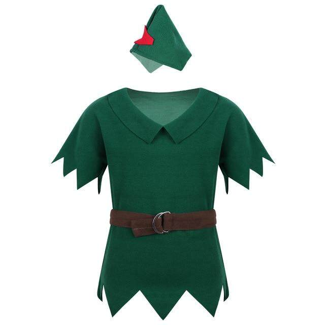 Kids Boys Clothing Robin Hood Outfit Costumes T-shirt with Hat Belt Halloween Cosplay Party Boy for Fancy Carnival Dress Up