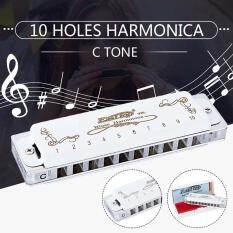 Monica Harmonica Blues Trắng T008LS Diatonic Key Of C 10 Lỗ Tông Cho Người Mới Bắt Đầu