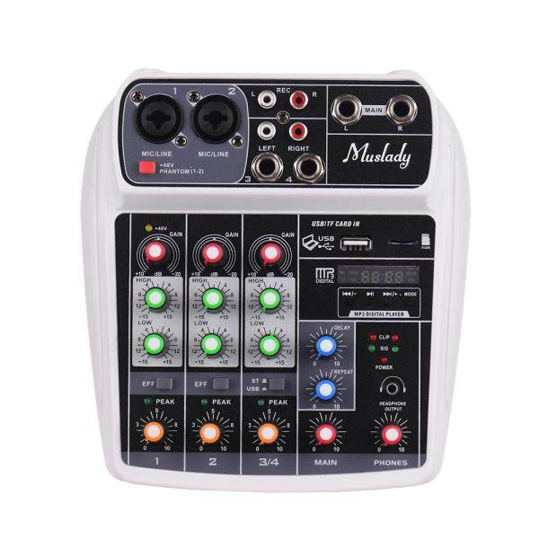 Muslady AI-4 Compact Mixing Console Digital Audio Mixer 4-Channel BT MP3 USB Input +48V Phantom Power for Music Recording DJ Network Live Broadcast US plug white Malaysia