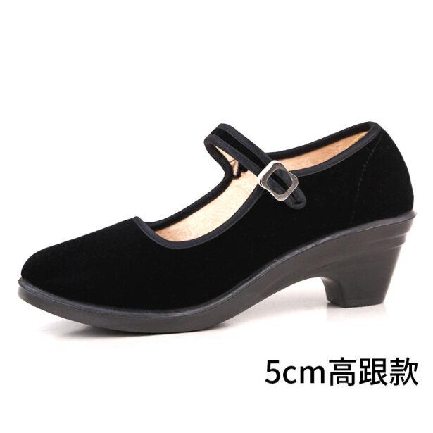 ♀✴♀Đồng Nhất Và Bắc Kinh Cũ Giày Vải Nữ Cao Gót Màu Đen Chống Trượt Nghi Thức Khách Sạn Giày Làm Việc Để Làm Việc Giữa Gót Giày Khiêu Vũ giá rẻ