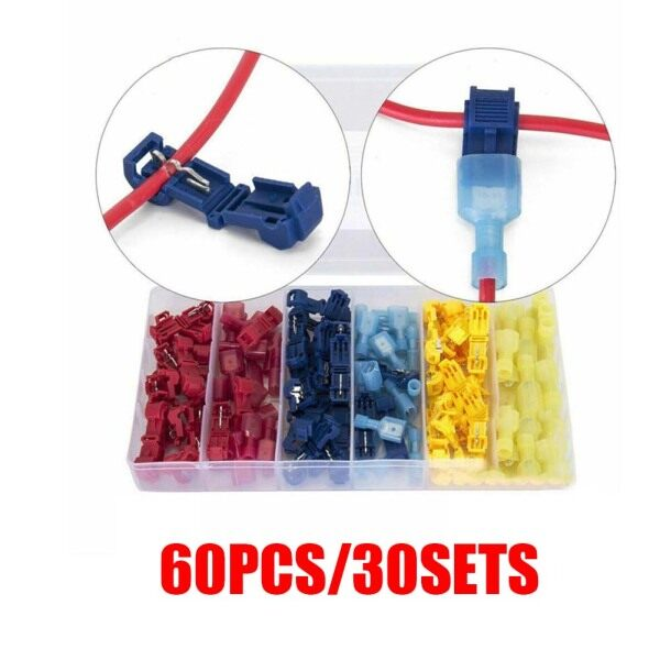 BEUMK 60pcs Terminals Connectors Quick Splice Lock T Tap Wire Joint Crimp Cable