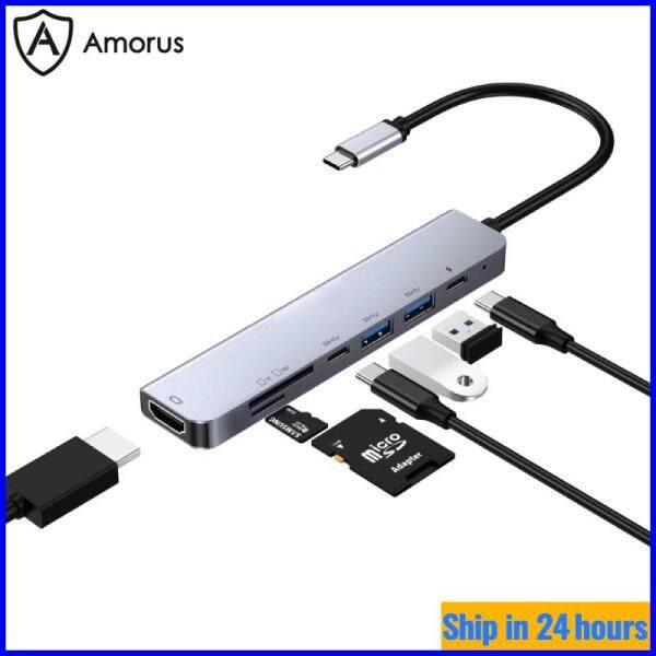Bảng giá [Hub Amorus] Bộ Chuyển Đổi HUB W65331 Type-C 7 Trong 1 Đa Chức Năng HUB Expander PD Giao Diện Sạc + Cổng Đầu Ra HDMI + Type-C + 2 USB 3.0 + Khe Cắm Thẻ SD + khe Cắm Thẻ TF Phong Vũ