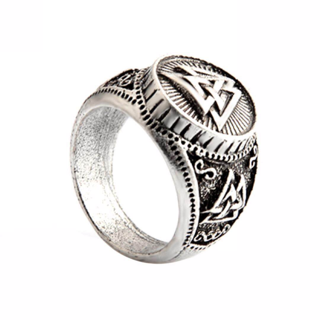 BOKALI Men Vintage Retro Silver Valknut Norse Nordic Odin Rings Viking  Jewelry