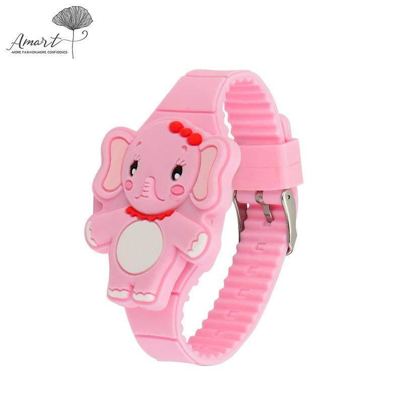 Nơi bán Amart Girls Trẻ Em Đồng hồ điện tử màn hình LED Ban Nhạc Silicone Hình Con Voi Hoạt Hình Ốp lật Đồng hồ đeo tay Quà Tặng Đáng Yêu