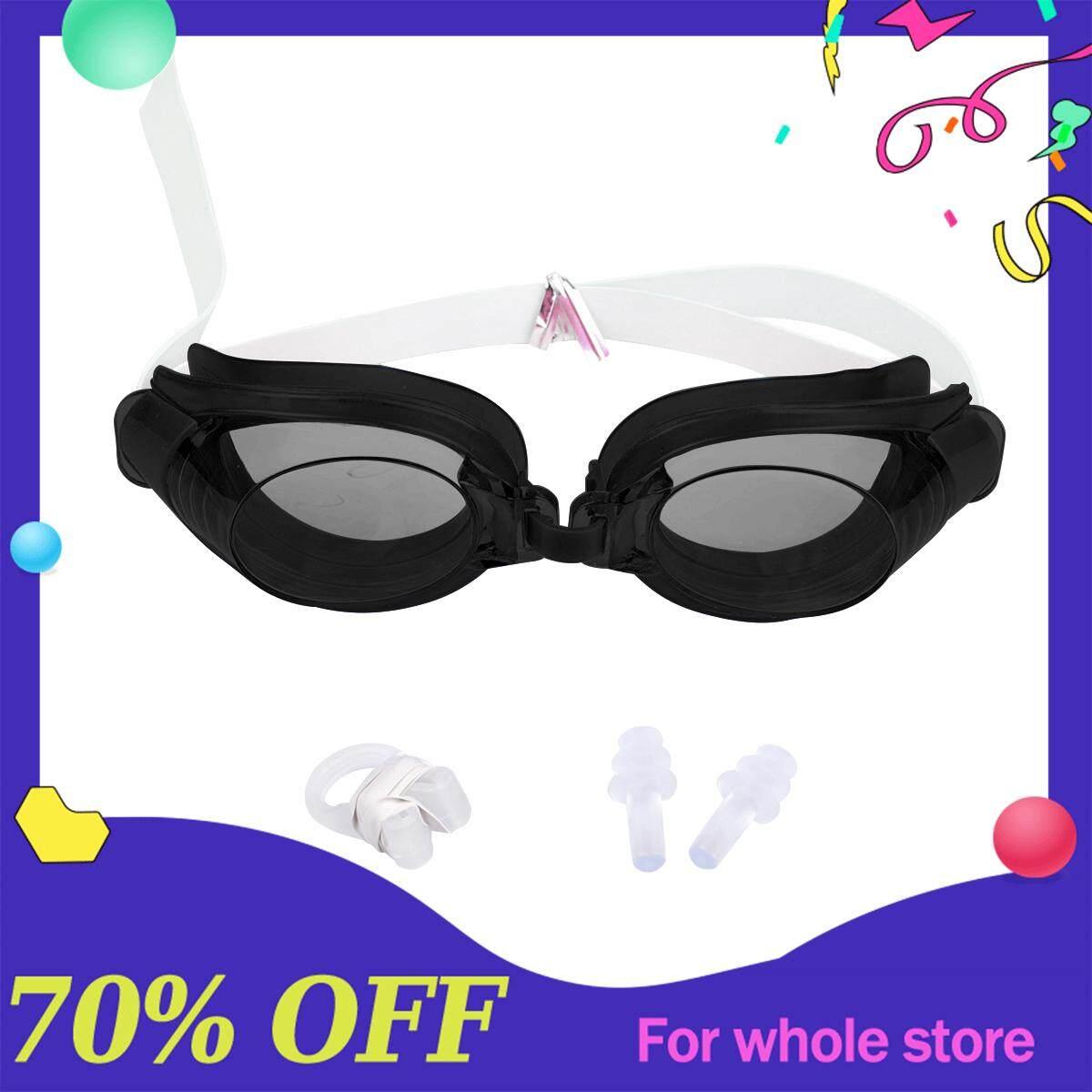 3 Pcs ปรับแว่นตาว่ายน้ำกันน้ำ Anti - Fog ว่ายน้ำแว่นตาแว่นตาว่ายน้ำผู้ใหญ่พร้อมคลิปหนีบจมูก + ปลั๊กอุดหู By Oubai Pet Line.