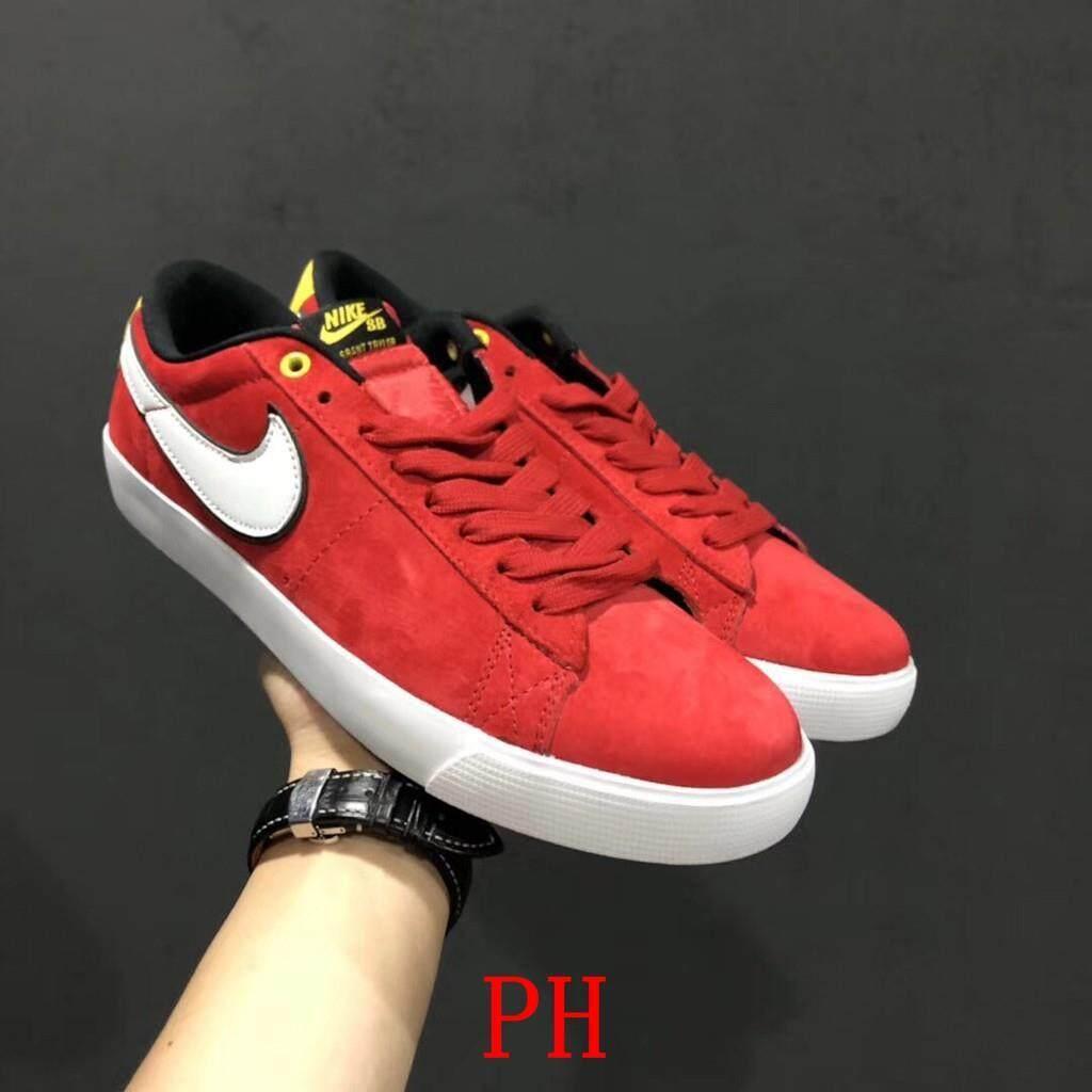 ยี่ห้อนี้ดีไหม  พะเยา รองเท้า Nike NIKE SB BLAZER LOW GT สีแดงสีเหลือง LOW เพื่อช่วยผู้ชายและสเก็ตบอร์ดผู้หญิงรองเท้าสบายๆ S