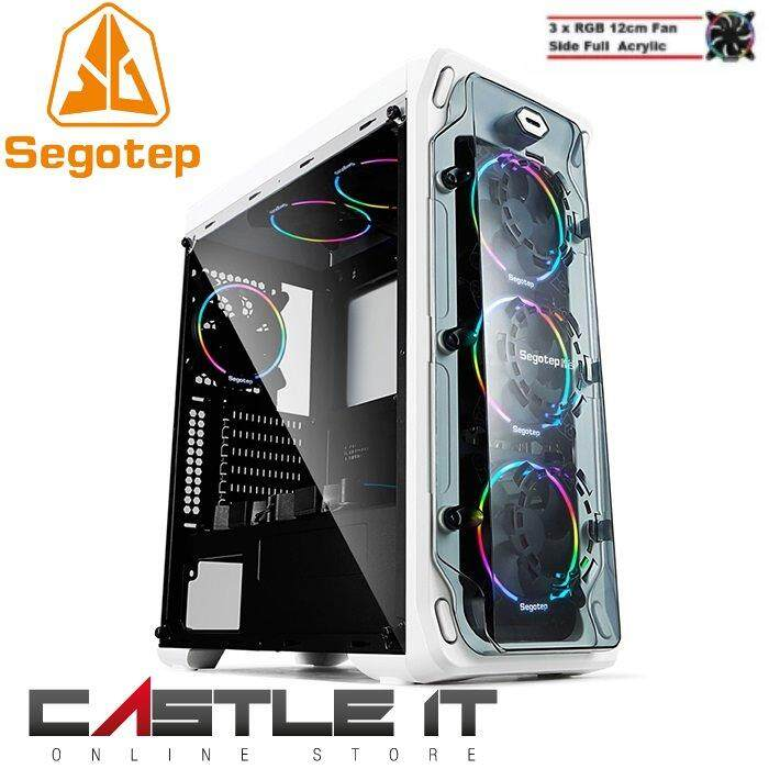 Segotep LUX II 2 RGB ATX Gaming Computer Case BLACK WHITE Casing Malaysia