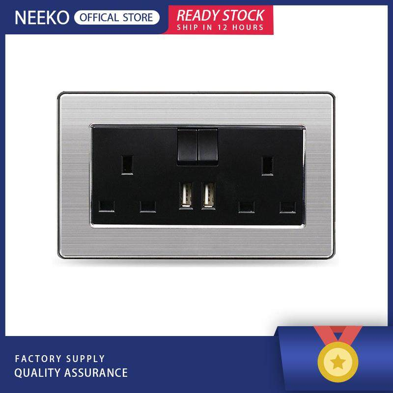 NEEKO『READY STOCK』146 UK Standard Switched Socket 2 USB Charge Port For 13A