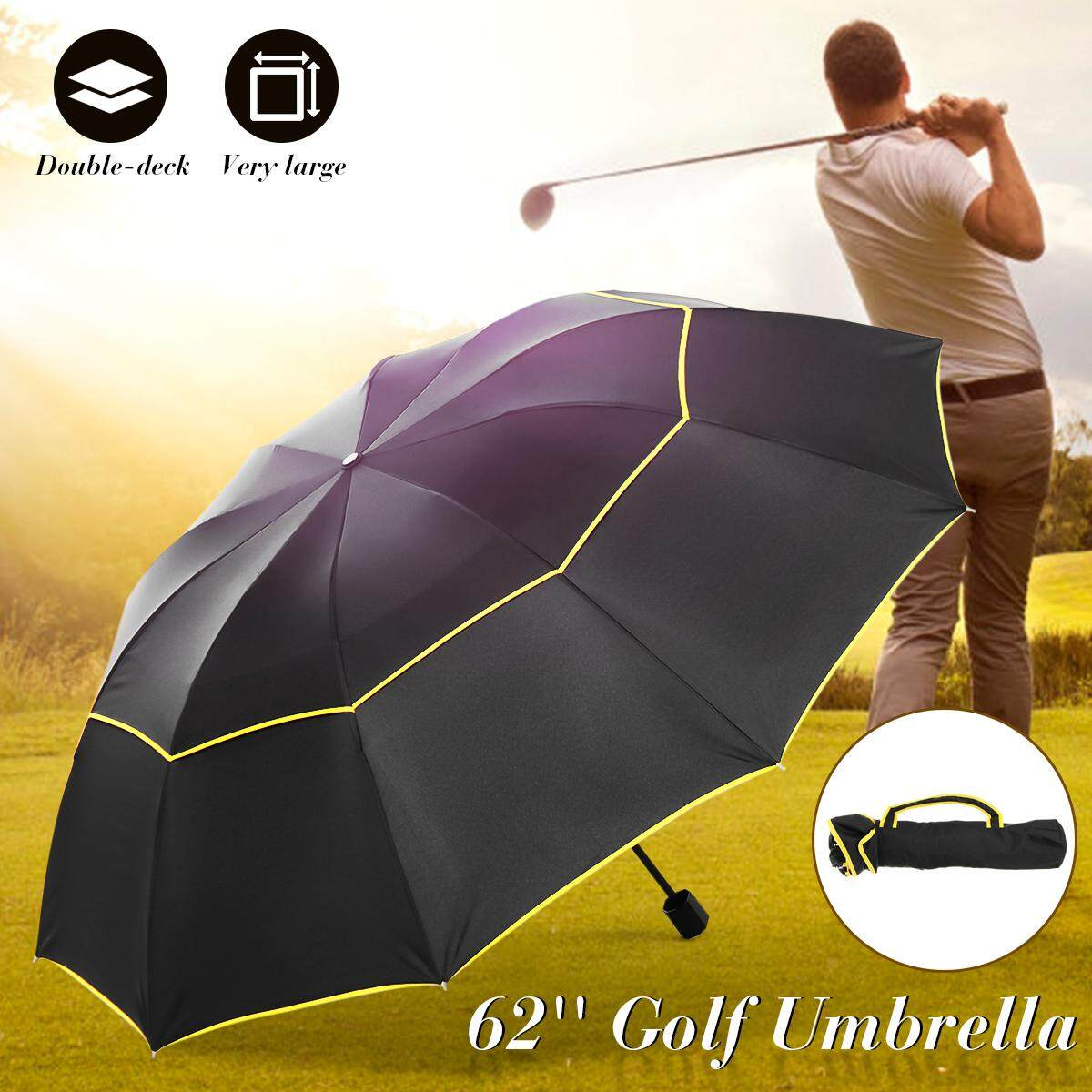 62inch Large Double Rain Sunny Golf Umbrella Windbuster Three Folding Umbrella
