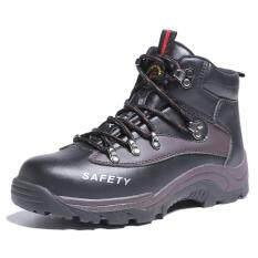 QINHUIZE Giày bảo hộ lao động cao cấp có mũi giày làm bằng thép không gỉ bảo vệ an toàn cho bàn chân dành cho nam – INTL