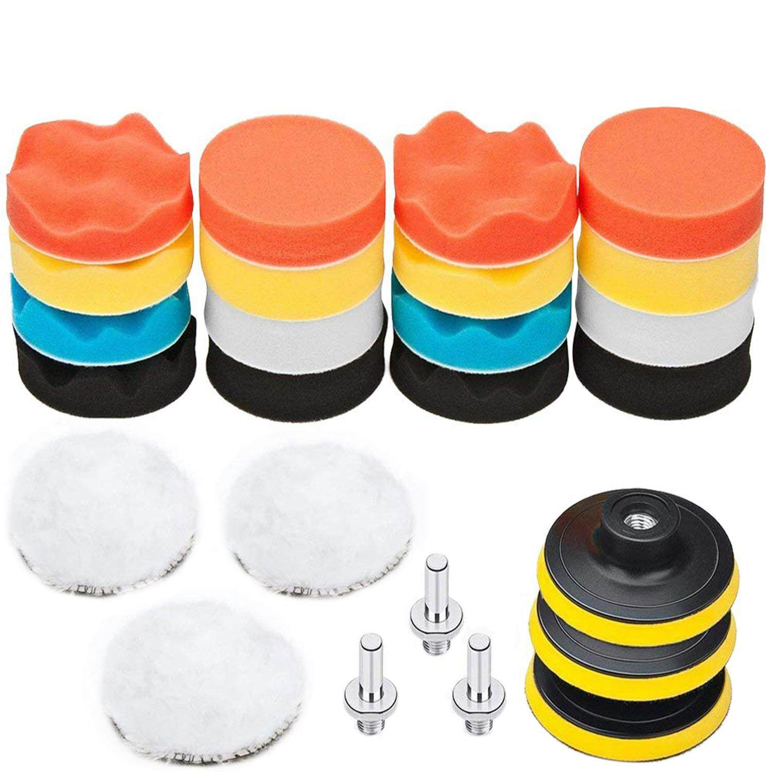 25 Pack 3 Inch Polishing Pads, Sponge Buffer Pads Set Kit With M10 Drill Adapter, Compound Auto Car Polisher By Dragonlee.
