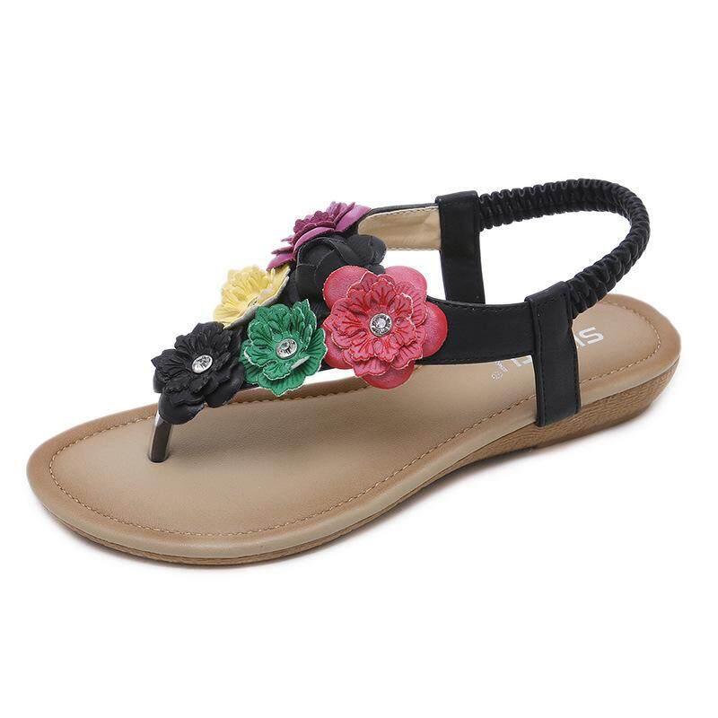 903d1a87168c8 National Wind Fashion Women Flat Sole Bohemian Sweet Flowers Toe-clip Beach Sandals  Shoes