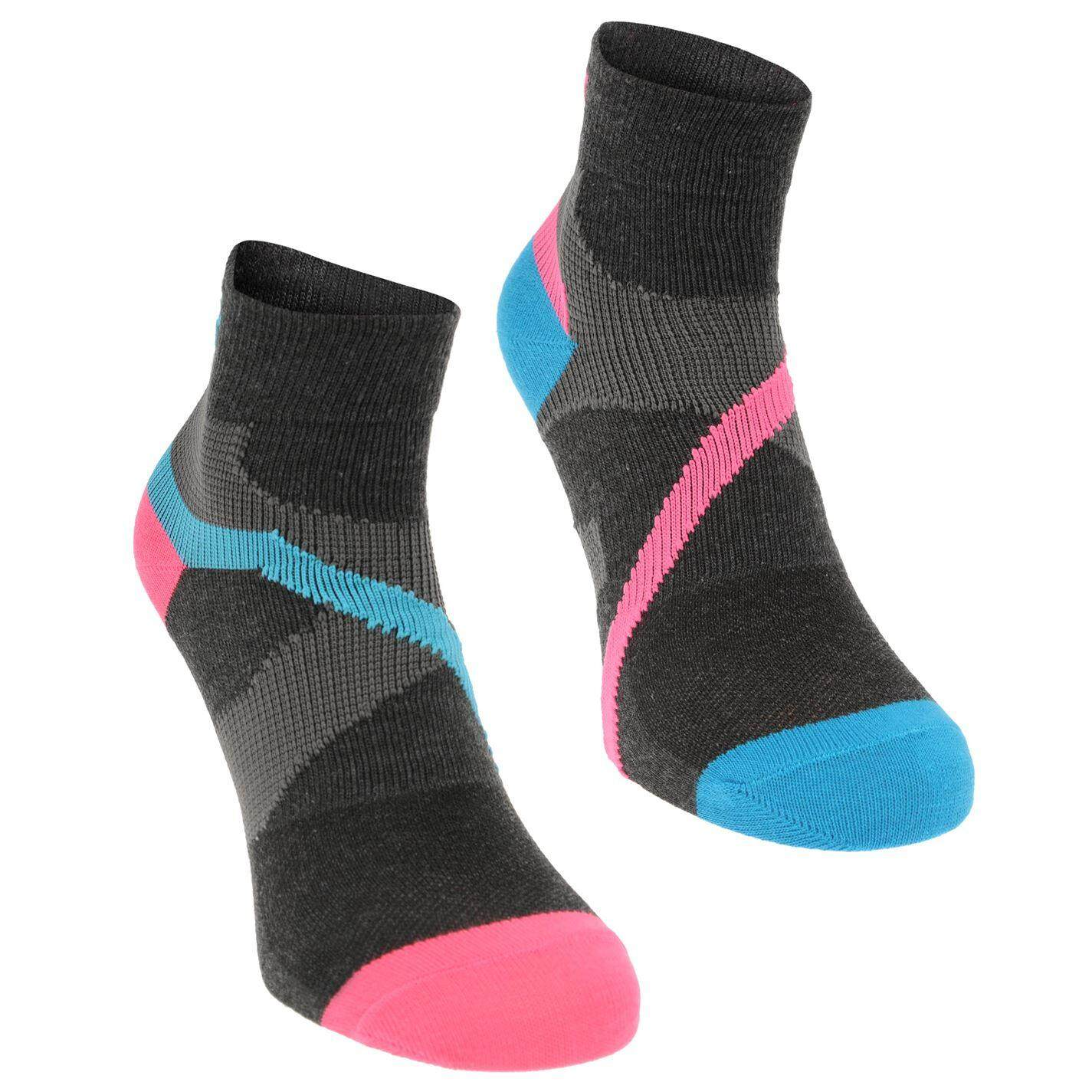 Karrimor Womens Support Quarter Socks 2 Pack (blk/pink/blue) By Sports Direct Mst Sdn Bhd.