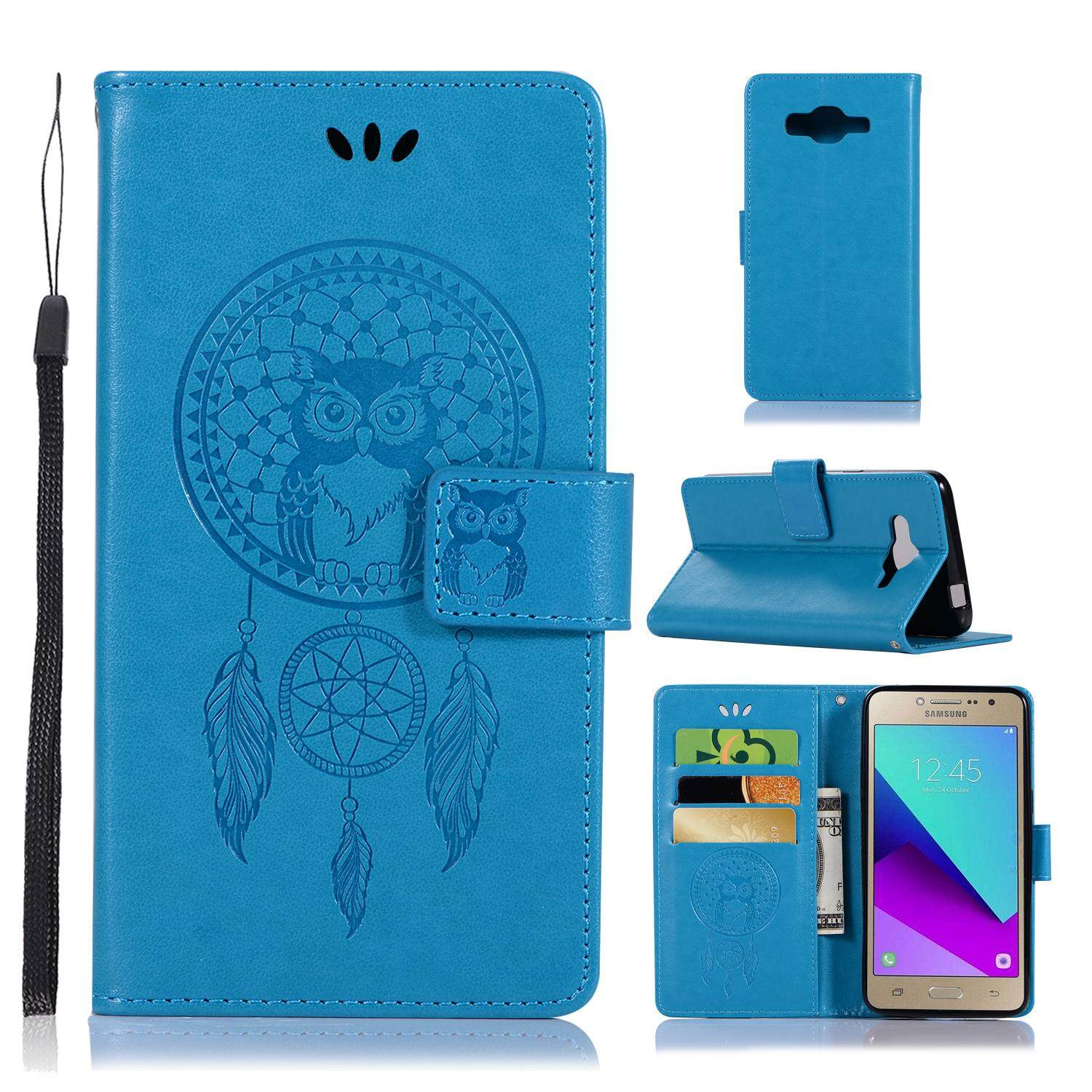 Luxury For Samsung Galaxy J2 Prime/grand Prime Plus Casing , 3d Owl Embossing Leather Folio Flip Case Cover By Life Goes On.