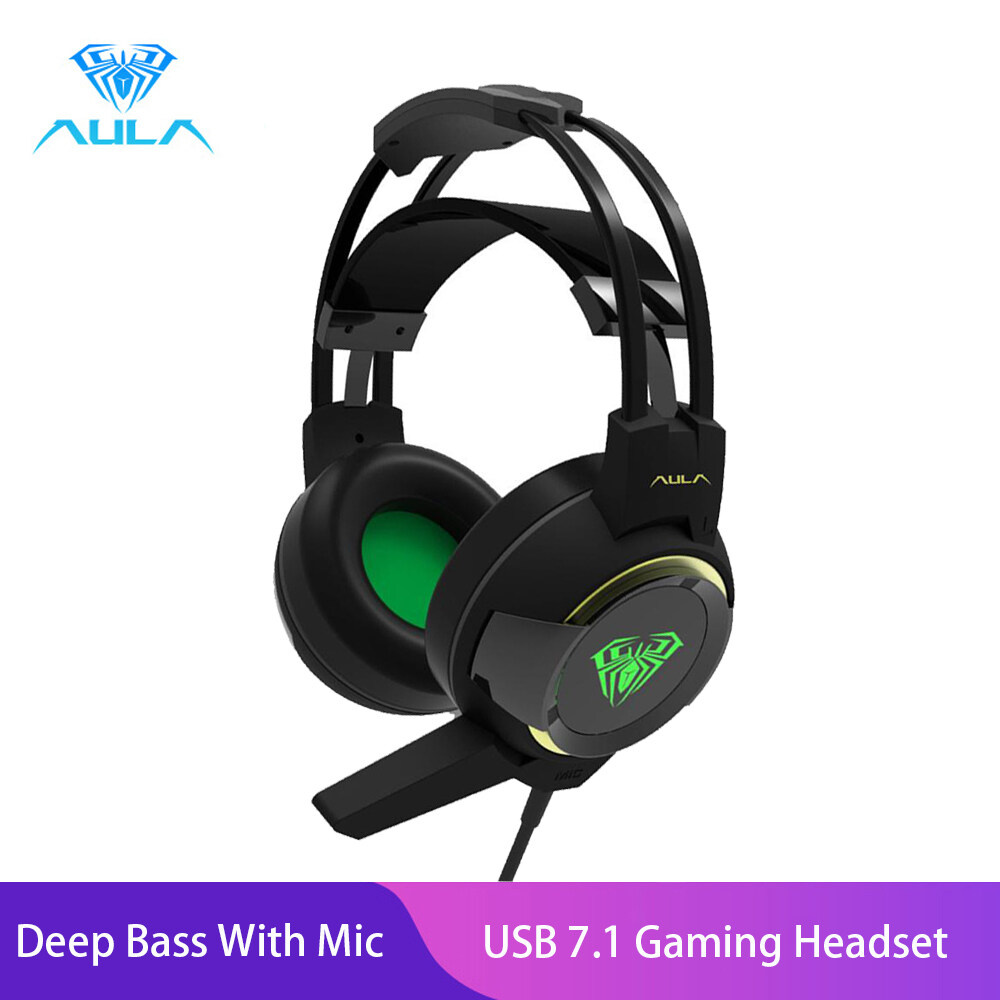 AULA G91 USB 7.1  Gaming Headset Gamer Deep Bass With Mic LED Light-Black