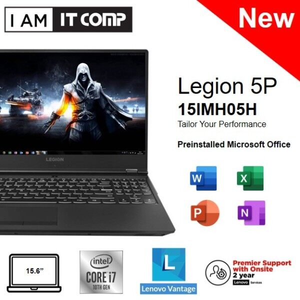 Lenovo Legion 5P 15IMH05H 82AW003FMJ 15.6 FHD 144Hz Gaming Laptop ( i7-10750H/16GB/512GB SSD/RTX2060 6GB/W10) Malaysia